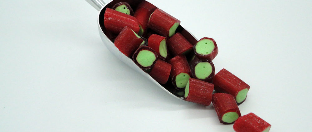 Rhubarb Rock sweets to buy online from Saltire Candy