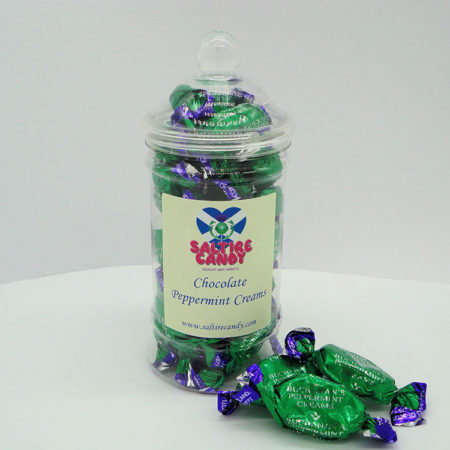 Chocolate Peppermint Creams Sweet Jar available to buy online from Scottish sweet shop Saltire Candy
