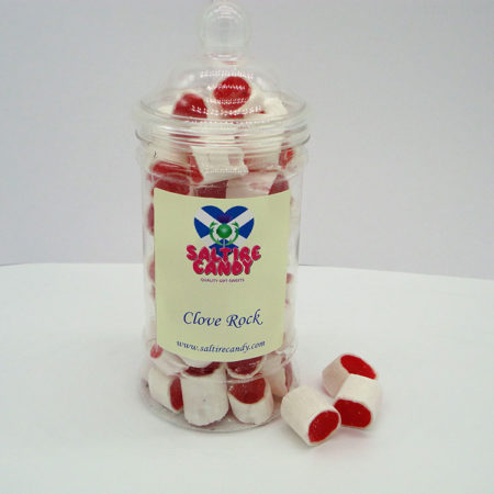 Clove Rock Sweet Jar available to buy online from Scottish sweets shop Saltire Candy