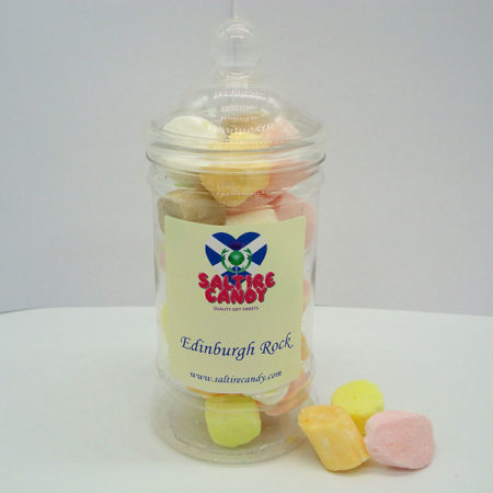 Edinburgh Rock Sweet Jar available to buy online from Scottish sweet shop Saltire Candy