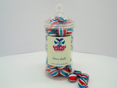 Ibrox Balls Sweet Jar available to buy online from Scottish Sweet Shop saltire Candy