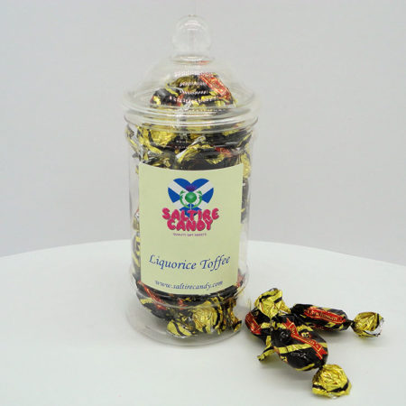 Liquorice Toffee Sweet Jar available to buy online from Scottish sweet shop Saltire Candy