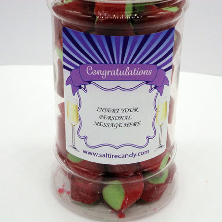 Rhubarb Rock Personalised Sweet Jar available to buy online from Scottish sweet shop Saltire Candy
