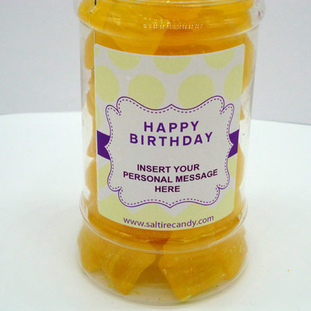 Pineapple Chunks Personalised Sweet Jar available to buy online from Scottish sweet shop Saltire Candy