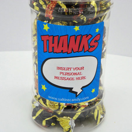 Liquorice Toffee Personalised Sweet Jar available to buy online from Scottish sweet shop Saltire Candy
