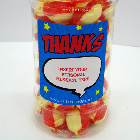 Rhubarb & Custard Personalised Sweet Jar available to buy online from Scottish sweet shop Saltire Candy