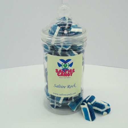 Saltire Rock Sweet Jar available to buy online from Scottish sweet shop Saltire Candy