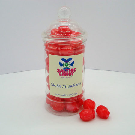 Sherbet Strawberries Sweet Jar available to buy online from Scottish sweet shop Saltire Candy