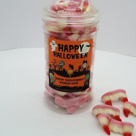 Mini Fangs Halloween Personalised Sweet Jar