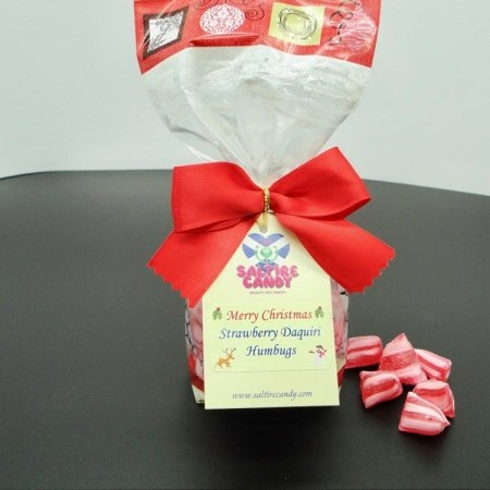 Strawberry Daiquiri Humbugs Santa Christmas Ribbon Bag