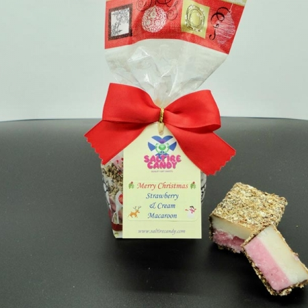 Strawberry and Cream Macaroon Santa Christmas Gift Bag