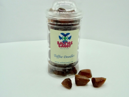 Toffee Doodles Sweet Jar available to buy online from Scottish sweet shop Saltire Candy