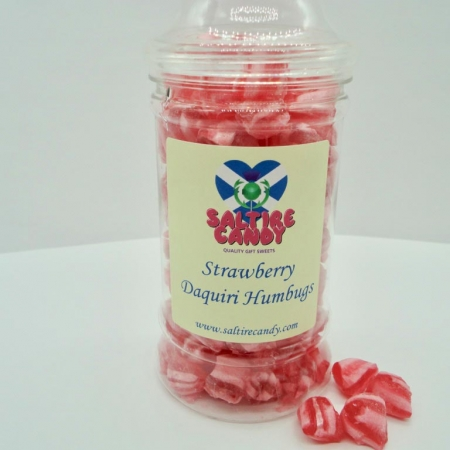 Strawberry Daiquiri Humbugs Sweet Jar available to buy online from Scottish sweet shop Saltire Candy